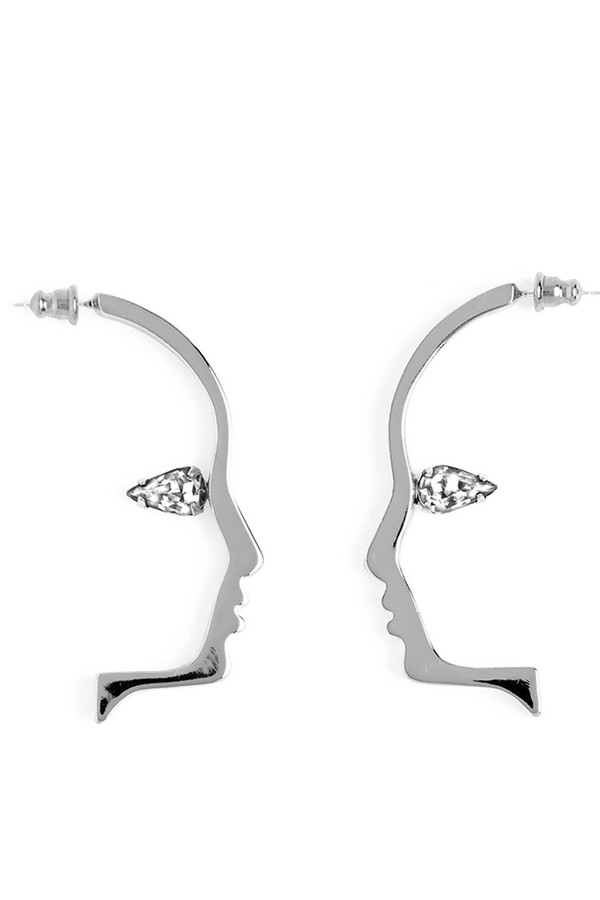 Lady Grey Mini Crystal Silhouette Studs (Silver/Swarovski)