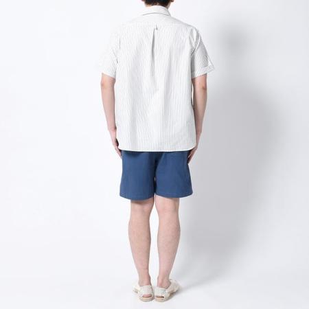 Danton Pullover S/S Oxford Pocket Shirt - Navy Stripe