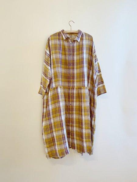ICHI ANTIQUITES Linen Tartan Dress