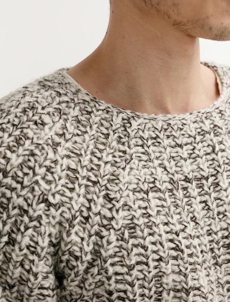 Tender 760 Mixed Voe Wool Rib Pullover Ecru