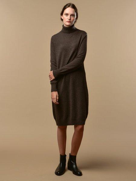 PURECASHMERE NYC Turtleneck Dress - Cocoa Brown