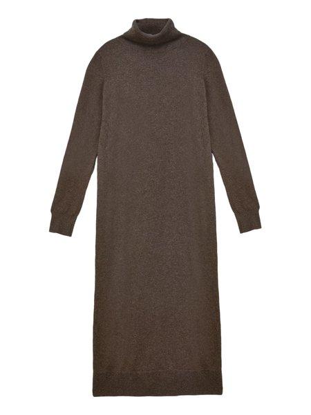 PURECASHMERE NYC Turtleneck Maxi Dress - Cocoa Brown