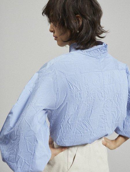 Rachel Comey Noni Top - Blue Multi Crinkle Stripe