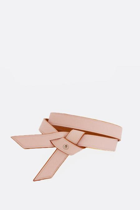 Phi 1.618 Double Twist Leather Bracelet - Pale/Pink Gold