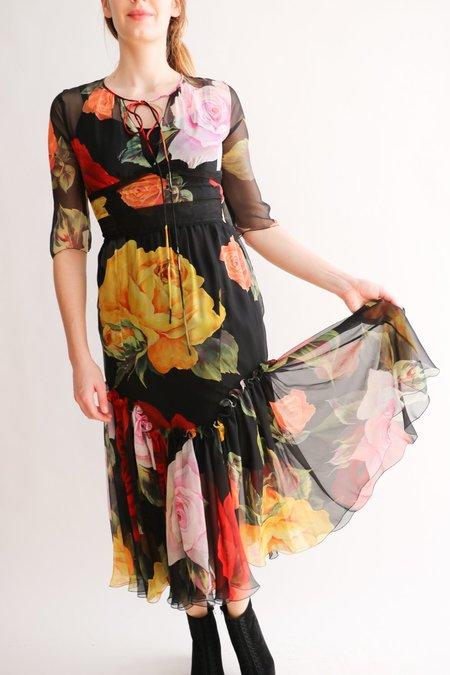 [Pre-loved] Dolce & Gabbana Midi Dress - Black Floral