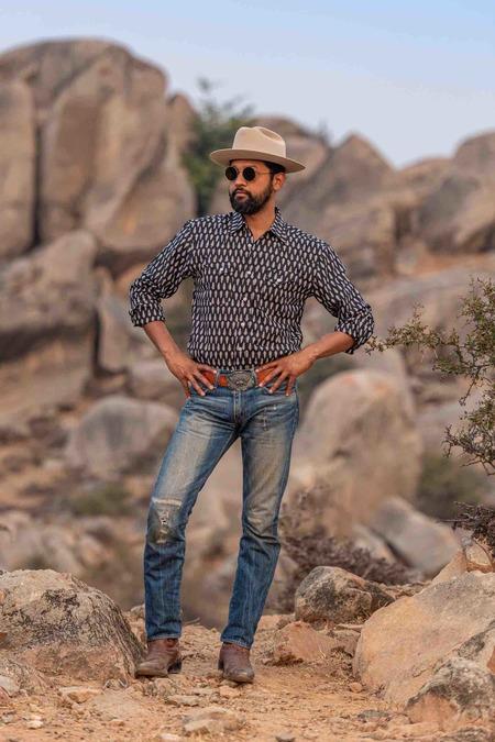 Dushyant Asthana The Bandit Western Shirt - Douglas Fir Print