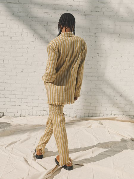 CMMN SWDN Stripe Reid Fringe Hem Bootcut Trousers - Mustard