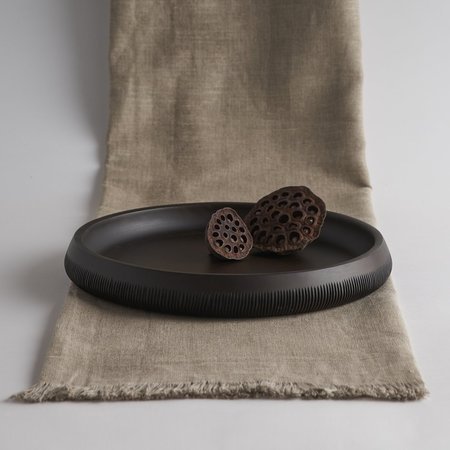The Collective Carved Wood Tray - black