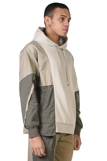 Feng Chen Wang French Terry Panelled Hoodie - Khaki/grey
