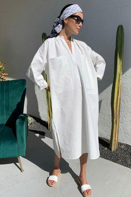 TWO NEW YORK THICK KHADI CAFTAN DRESS - WHITE