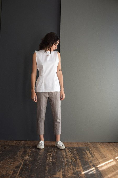 Hazel Brown Linen Stretch Top - White