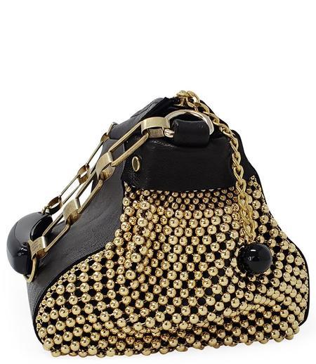 Laura B Bauletto Leather Handbag - Black/Gold