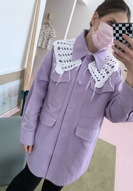 Tibi Cotton Crochet Collar - white