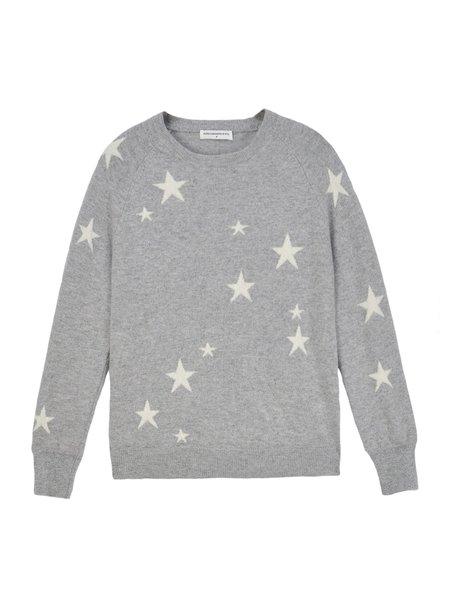 PURECASHMERE NYC Star Jacquard Crew Neck - Light Grey/Ivory
