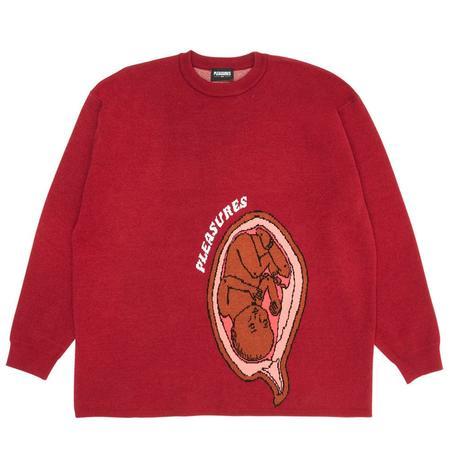 PLEASURES Utero Jaquard Sweater - Maroon