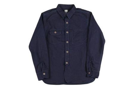 Momotaro Jeans Indigo Herringbone Work Shirt