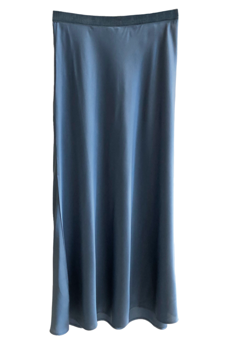 Not Shy Silk Midi Elegant Blue Skirt - Marine