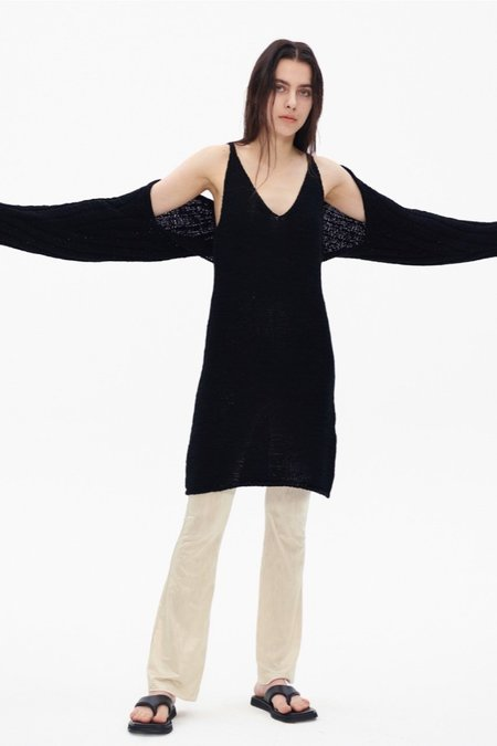 Theopen Product COTTON RIBBED BOLERO KNIT TOP sweater - BLACK