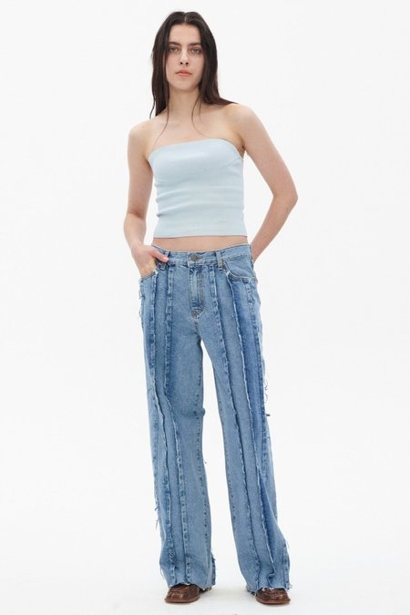 Theopen Product RAW-EDGE PANELLED JEANS - blue