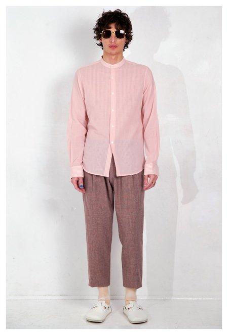 Graphia New York Band Collar Long Sleeve Shirt - Blush/White Stripe