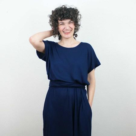 Erin MacLeod Shift Pockets Dress - Bright Blue Waffle Knit