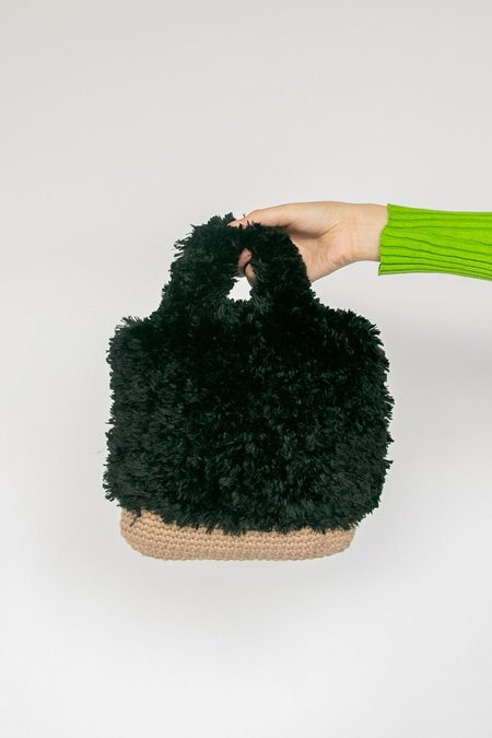 Vintage Fuzzy Knitted Purse bag - black