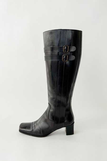 Vintage Square Heel Buckle Knee Boots - Black