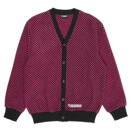 PLEASURES Alliance Checkered Cardigan - Fuchsia/Black