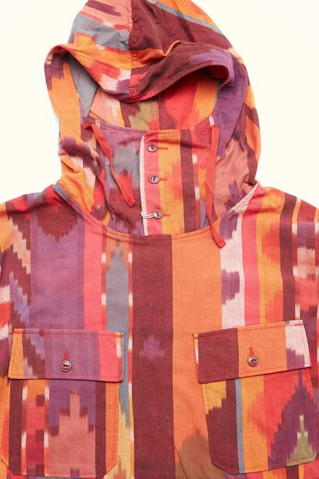 Engineered Garments Cagoule Cotton Ikat Shirt - Red/Orange