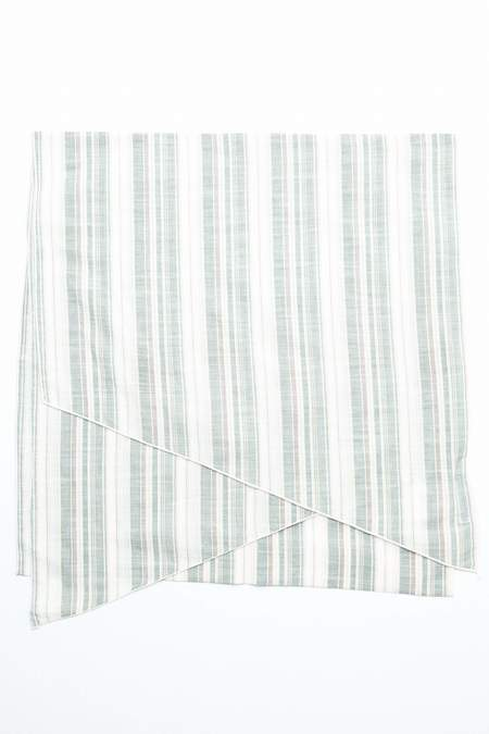Engineered Garments Long Cotton Lawn Scarf - Natural/Green Variegated Stripe