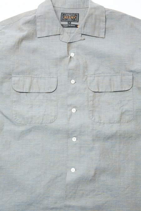 Beams Plus Open Collar Cotton Linen Chambray shirt - BLUE