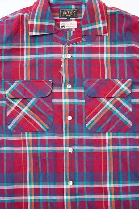 Beams Plus Open Collar Madras shirt - PURPLE