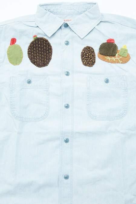 Kapital Chambray CACTUS Embroidery Work Shirt - Sax