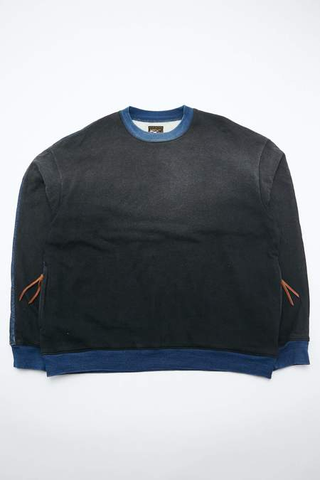 Kapital Fleece Knit x Denim Quilting 2TONES BIG Sweater - Indigo/Black