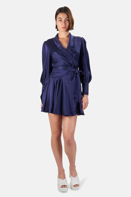 Zimmermann Silk Wrap Mini Dress - Indigo