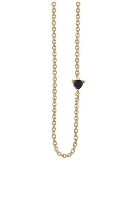 Lizzie Mandler Floating Necklace with Black Diamond Trillion - Yellow Gold