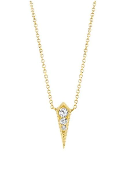 Lizzie Mandler Single Kite Necklace with White Diamonds - Yellow Gold