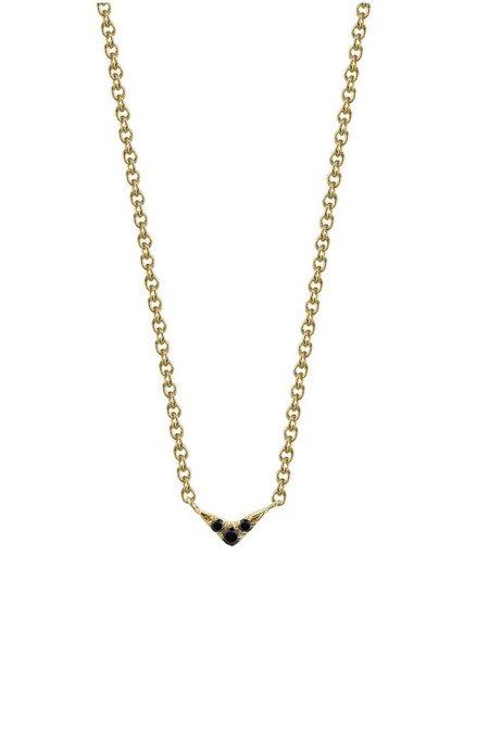 Lizzie Mandler V Necklace with Black Diamond Pave - Yellow Gold