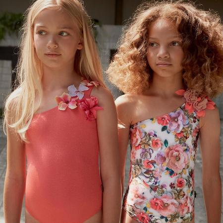 kids molo nai swimsuit - coral glitter