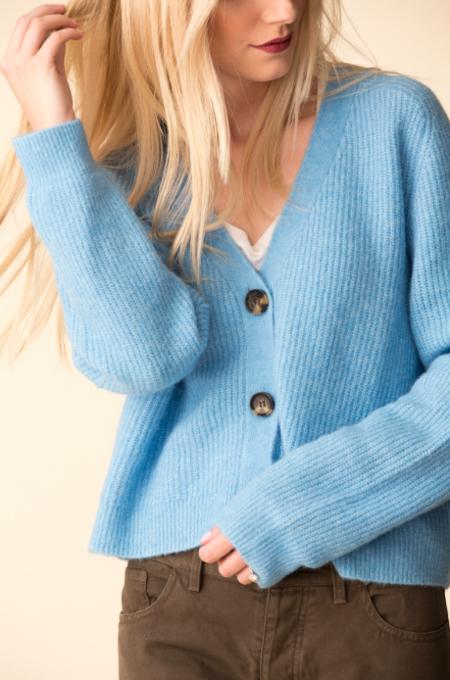 Ganni Soft Wool Cardigan - Bachelor Blue