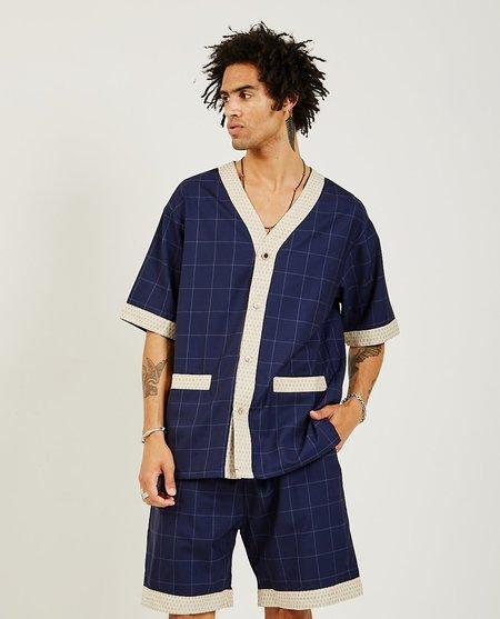 Drôle de Monsieur Wool Check Shirt - Navy