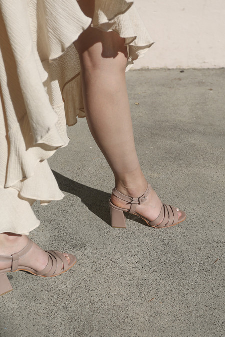Maryam Nassir Zadeh Palma High Sandal in Taupe Patent