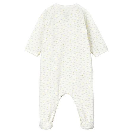 kids Petit Bateau Baby Motif With Feet Pyjamas - White Cloud Print
