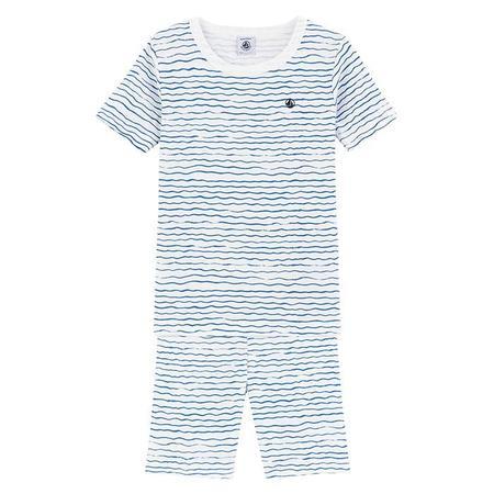 kids Petit Bateau Child Marque Waves Print Pyjamas - Blue