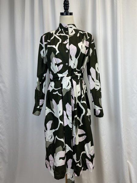 [pre-loved] Marimekko Patterned Shirt Dress - Green/Purple/White