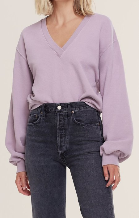 AGOLDE V Neck Balloon Sleeve Sweatshirt - Taro