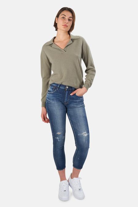 NAADAM V Neck Pullover Sweater - Green