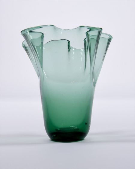 Vintage Hand-blown Glass Wavy Vase - Green