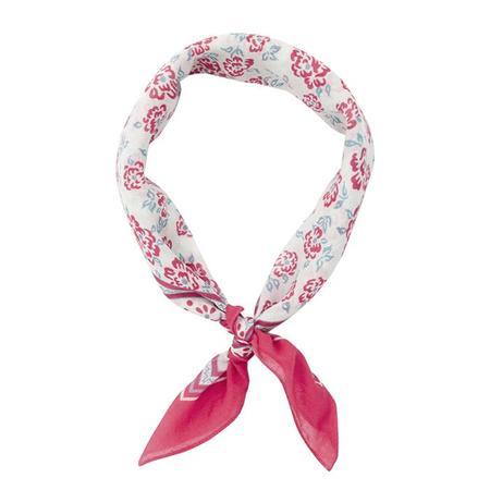 Bonton Scarf with Pink Floral Print - Fuchsia