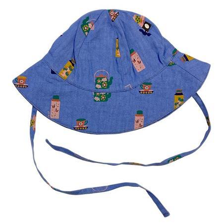 Kids Oeuf Baby Sun Hat - Iris Blue/Tea Time Print